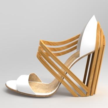 sandalia blanca y madera