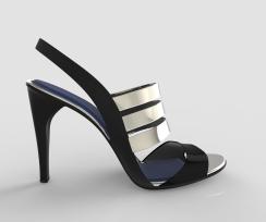 Sandalia negra y plata
