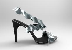 sandalia volantes metalizada