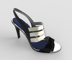 sandalia tiras plateadas y negra