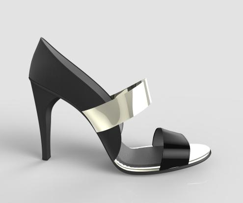 sandalia negra y plateada