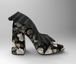 Zapato hueco cerrado flores con volantes