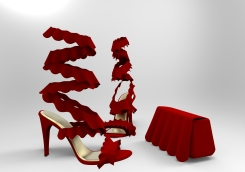 Sandalia y bolso volantes rojos