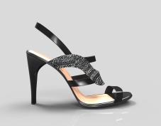 Sandalia negra con brillantes