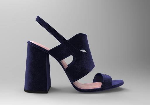 Sandalia terciopelo azul