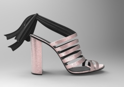 Sandalia raso rosa y negro