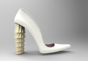 Zapato blanco y dorado