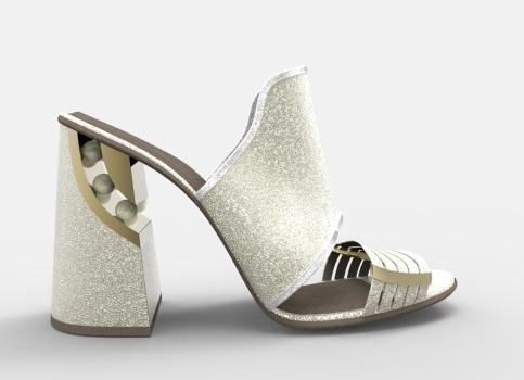 Sandalia platino perlas