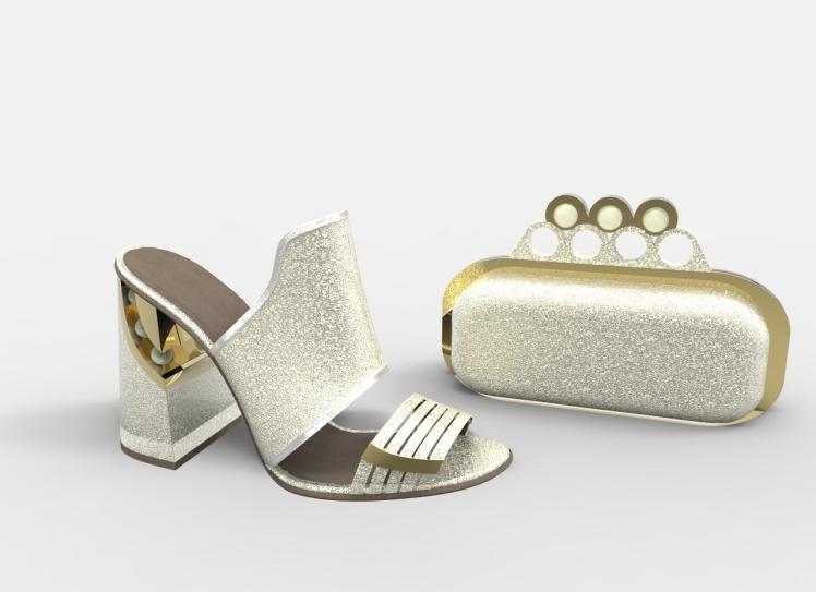 Sandalia y bolso platino perlas